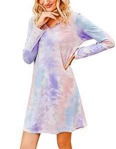Banamic Womens Nightgowns Tie Dye Sleepwear Night Dress Cute Nightgowns