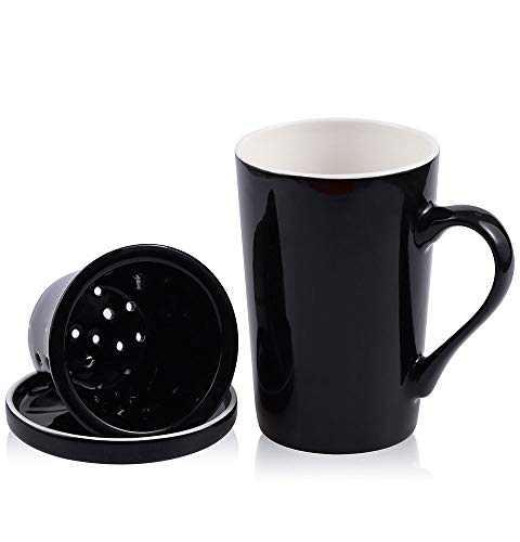 DiiKoo Tea Cups with Ceramic Infuser and Lid,14.2 Oz Ceramic Tea Mug,Tea Strainer Cup with Tea Bag Holder for Loose Tea,Porcelain Tea Steeping Mug Black M