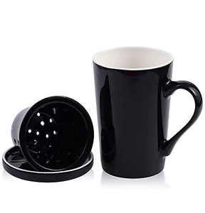 DiiKoo Tea Cups with Ceramic Infuser and Lid,14.2 Oz Ceramic Tea Mug,Tea Strainer Cup with Tea Bag Holder for Loose Tea,Porcelain Tea Steeping Mug Black M