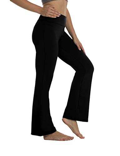 High Waisted Workout Bootcut Yoga Pants Tummy Control Bootleg Flared Yoga Pants Without Pockets for Women Black-M-LB600