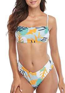 Charmo Women's Bandeau Floral Bikini Swimsuit Sets Tie Back Adjustable Bathing Suits L