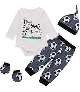 Aslayme Newborn New Player in Town Pant Set Baby Boy Baby Coming Home Outfit with Hat and Gloves (Grey,3-6 Months)