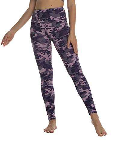 High Waisted Workout Yoga Pants Athletic Running Tummy Control Leggings with 1 Waistband Pocket for Women-Pink Purple Camo-S-CL210W