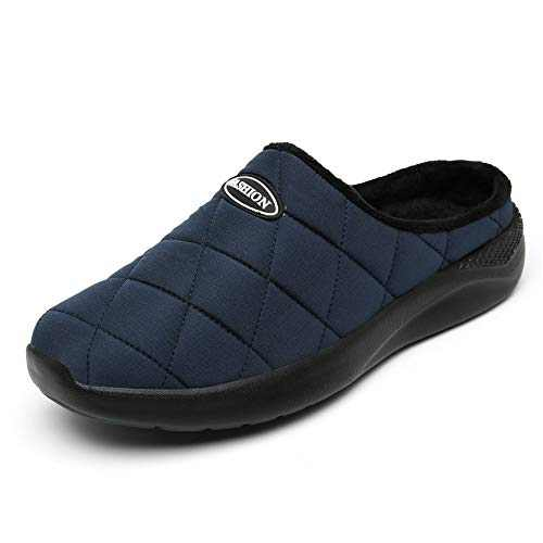KUBUA Men's Slippers Indoor House Walking Shoes Casual Outdoor Garden Shoes Plush Warm Loafers