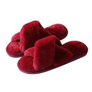 Walk Diary Slippers for Womens Cross Band Soft Plush Slippers Furry Slip on Slippers Open Toe House Shoes Slides for Indoor Outdoor