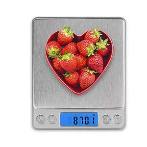 Food Scale, Gram Scale with 2 Trays 0.1g-3000g/6.6lb Weight Grams and Oz for Baking, Scale for Food, Stainless Steel Mini Digital Kitchen Scale