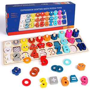 Lydaz Montessori Toys for Toddlers, Wooden Shape Puzzles with Expression - Preschool Math Manipulatives Counting Number Games for Kids, Christmas Birthday Gifts for 3 4 5 Years Old Boys Girls