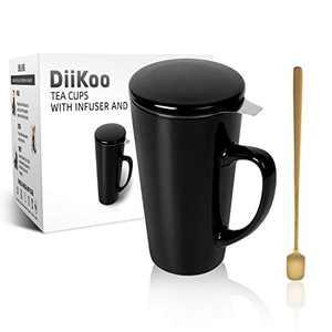 DiiKoo Tea Infuser, Tea Cups with Infuser and Lid, Tea Filters 19 Oz Large Ceramic Tea Mug, Tea Strainer Cup with Tea Bag Holder for Loose Tea, Porcelain Tea Steeping Mug White