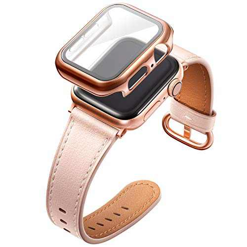 Adepoy Compatible with Apple Watch Bands 42mm, Genuine Leather Wristband with Roes Gold Clasp for Women Apple iWatch Series Se/6/5/4/3/2/1, Pink Large