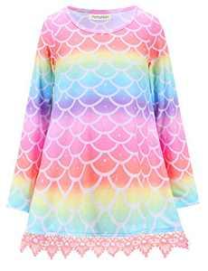 Girls Casual Lace Tunic Swing Soft Winter Tops Long Sleeve Mermaid Shirts Asymmetric Hem 8 9