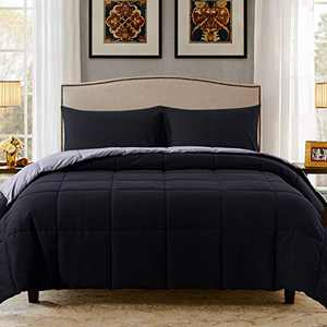 Decroom Lightweight Twin Comforter Set with 1 Pillow Sham - 2 Pieces Set - Quilted Down Alternative Comforter/Duvet Insert for All Season - Black/Grey - Twin/Twin XL Size