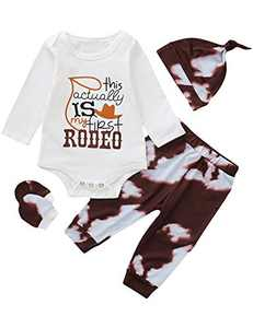Aslayme Newborn This Actually is My First Rodeo Outfits Baby Boy Shower Gift with Hat and Gloves (Brown02,0-3 Months)