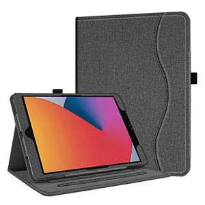 "SanJune Case for New iPad 8th Generation 10.2"" 2020 / 7th Generation 2019 - [Multi-Angle Viewing] Stand Cover with Pocket, Pencil Holder, Auto Wake/Sleep for Apple 10.2-Inch Tablet, Denim Gray"