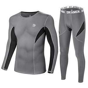 DIKAMEN Men's Thermal Underwear Fleece Lined Performance Fleece Tactical Sports Shapewear Thermal Set (Grey, Small)