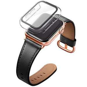 Adepoy Compatible with Apple Watch Bands 40mm 38mm 42mm 44mm, Genuine Leather Wristband for Women Apple iWatch Series Se/6/5/4/3/2/1,Roes Gold Clasp Leather Band with Tempered Glass Screen Protector Case