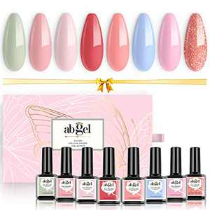 Abgel Gel Nail Polish Kit,8 pcs Gentle Peach Color Series Gel Polish Starter Set UV LED Lamp Soak Off Nail Polish Gel Manicure Set for Home Nail Art Color Salon Popular Summer Colors