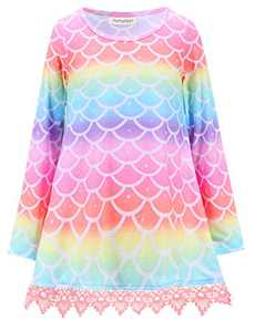 Girls Long Sleeve Rainbow Mermaid Tops Swing Lace Trim Tunics Round Neck Winter Clothes 10 11