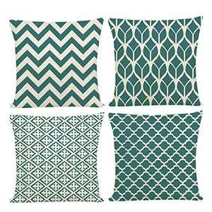 Pantula Green Throw Pillow Covers - Set of 4 - Elegant Soft Linen Square Throw Pillowcase Geometric Design Cushion Covers for Home Decorative, Sofa Couch Bed&Car, 4 Pack, (18x18 inch)