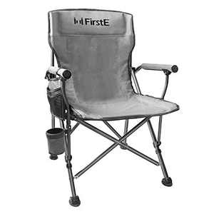 FirstE Portable Camping Chair, Durable Foldable Chair Heavy Duty Lawn Chair with Soft Foam Pad, Cup Holder and Side Pocket, Outdoor Chair for Camping, Beach, Fishing, Lawn, Picnic, Support 330lbs