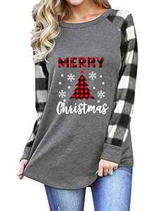 Jeanewpole1 Womens Merry Christmas T Shirt Plaid Splicing Raglan Long Sleeve Top White