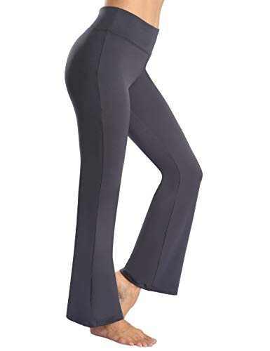 YUANRANER Bootcut Yoga Pants for Women High Waisted Workout Running Tummy Control Bootleg Flare Yoga Dress Pants Grey-XXL