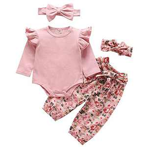 Norhu Newborn Baby Girls Clothes Cute Girl Baby Clothes Ruffles Romper + Floral Pant +2 PCS Headband 4pcs Outfit (Pink, 12-18Months)