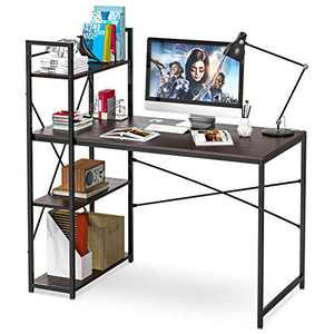 Computer Desk with Storage Shelves - 47 Inch Writing Study Table Desk for Bedrooms, Modern Style PC Laptop Home Office Desk with Bookshelf (Brown-C)