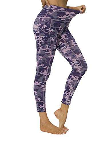 High Waisted Workout Yoga Pants Athletic Running Tummy Control Leggings with Pockets for Women-Pink Purple Camo-XL-CL211