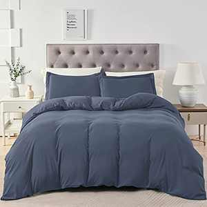 BEDELITE Twin/Twin XL Duvet Cover Set Navy Blue - Soft Comfortable Washed Cotton Like Bedding Duvet Covers, Hotel Collection Comforter Cover with Zipper, Fall (Wrinkle Free,Lightweight,Breathable)