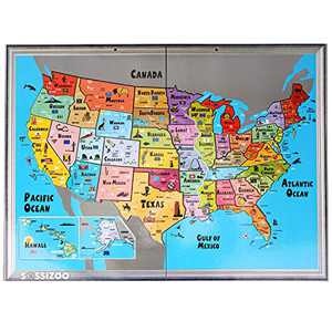 Jigsaw Puzzles for Kids Age 6 - Toddler Educational Toys - Preschool Game for Learning World Map and USA States and Capitals – Gift for Children