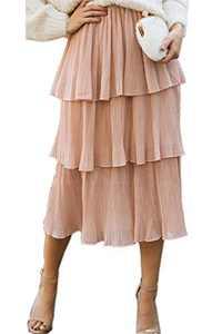 Woman Flexible Waist Loose Fitting Fashionable Fold Soild Pink Swing Skirt L