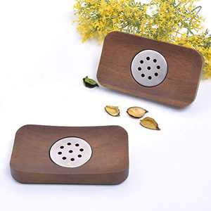 Wood Soap Dishes for Bathroom and Kitchen Set of 2 Wood Soap Holder Tray