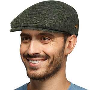 Men's Herringbone Flat Newsboy Hat 50% Wool Blend Tweed Gatsby Cabbie Ivy Classic Golf Cap Army Green