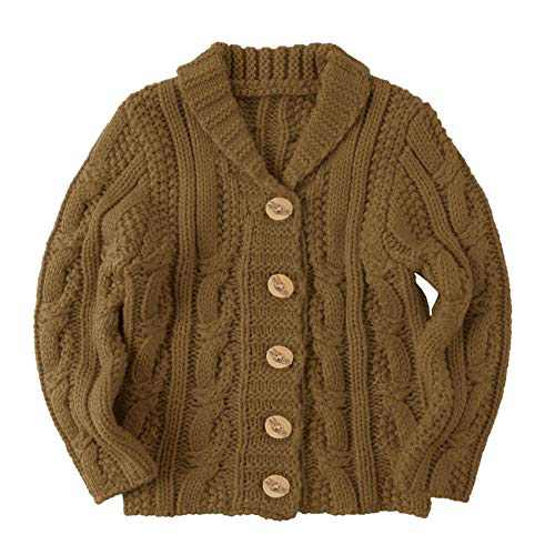 Makkrom Toddlers Baby Boys Girls Button Up Cardigan Sweaters V-Neck Knit Winter Warm Outwear Brown