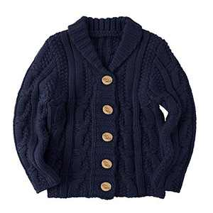 Makkrom Toddlers Baby Boys Girls Button Up Cardigan Sweaters V-Neck Knit Winter Warm Outwear Navy
