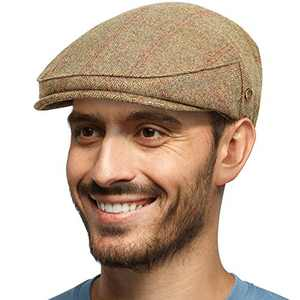 Men's Herringbone Flat Newsboy Hat 60% Wool Blend Tweed Gatsby Cabbie Ivy Classic Golf Cap Khaki