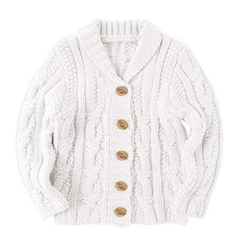 Makkrom Toddlers Baby Boys Girls Button Up Cardigan Sweaters V-Neck Knit Winter Warm Outwear White