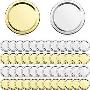 50 Pieces 68 mm Regular Mouth Mason Jar Split-Type Lids with Silicone Seals Rings Canning Lids Split-Type Lids Leak-Proof and Secure Canning Jar Caps for Mason Jar (Gold, Silver)