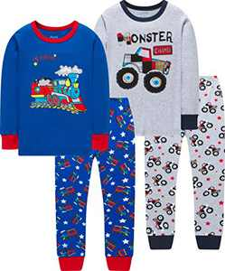 Boys Train Pajamas Christmas Children Cotton Monster Trucks Pjs Kids Jammies Sleepwear Size 5