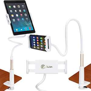 """Gooseneck Tablet/Phone Holder for Bed or Desk with 31'' Long Flexible 360° arm Mount, Padded Solid Support Grip clamp, Compatible with iPad Air Mini Pro Kindle Nexus Tab Galaxy Tab 4.7""""- 7.9"""" White"""