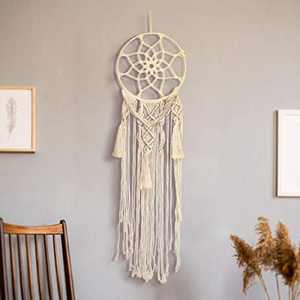 LINGSFIRE Macrame Wall Hanging Woven Tapestry Boho Decor, Handmade Dream Catcher Cotton Rope Wall Decor Bedroom Living Room Dorm Decoration, Crafts Gift for Women Friend Mom, 30 x 109 cm (Beige)