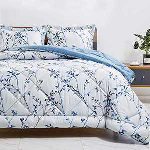 CozyLux King Printed Comforter Set with Orchid Floral Pattern Lightweight Soft Down Alternative Duvet Insert - Hypoallergenic Fluffy Microfiber Bed Set for All Season - 3 Piece, Blue Flower