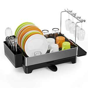 Dish Drying Rack, Swedecor Staineless Steel Dish Rack with Glass Holder, Dish Drainer with Swivel Spout, Drainboard and Utensil Holder