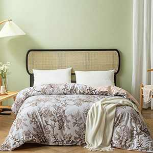 Omelas Vintage Floral Duvet Cover Set Queen Size Khaki Camel Flowers Leaves Printed Reversible Texture Pink Bedding Sets Country Garden Style Luxury Microfiber Quilt Covers No Comforter