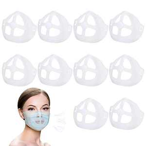 10 PCS 3D Face Bracket, Inner Support Frame, Plastic Bracket - More Space for Comfortable Breathing Protect Lipstick Washable Reusable, Translucent
