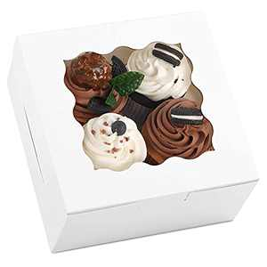 Moretoes White Treat Boxes 6x6x3 Inches 20pcs with Window Small Bakery Boxes for Cookies, Cake, Pie, Pastry, Cupcakes