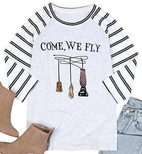 UNIQUEONE Come We Fly Halloween T-Shirt Women 3/4 Sleeve Baseball Shirts (Stripe, Large)