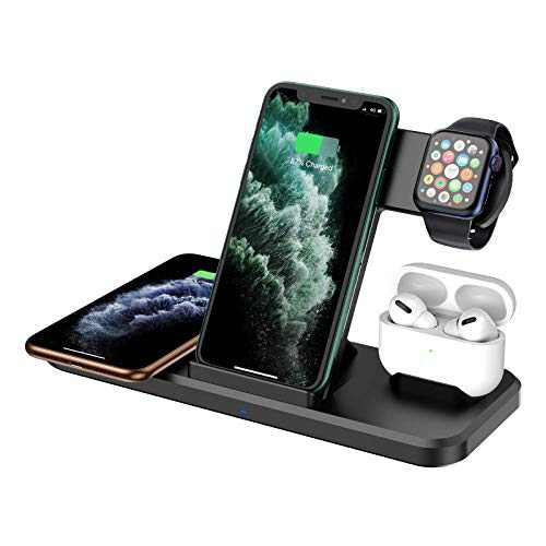 Wireless Charger 4 in 1,15W Fast Charger Station Compatible with iPhone 12 Pro/12 Pro Max/11 Pro/11 Pro Max/X/XS/XR, Apple Watch AirPods Pro, Wireless Charging Stand