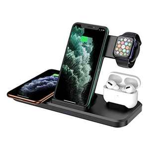 Wireless Charger 4 in 1, Qi-Certified 15W Fast Charger Station Compatible iPhone 12 Pro/12 Pro Max/11 Pro/11 Pro Max/X/XS/XR, Apple Watch AirPods Pro, Wireless Charging Stand for Samsung Galaxy Series