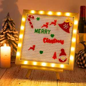 Christmas Felt Letter Board with LED Lights- 10 × 10 Inch White Changeable Message Board with Rustic Vintage Wood Frame 4 Felt Ornaments 395 Pre-Cut Red & Green Letters Canvas Letters Bag Tripod Stand